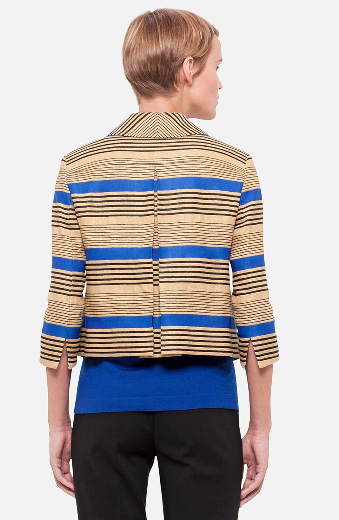 Alternate Image 2  - Akris punto Stripe Linen Blend Jacket