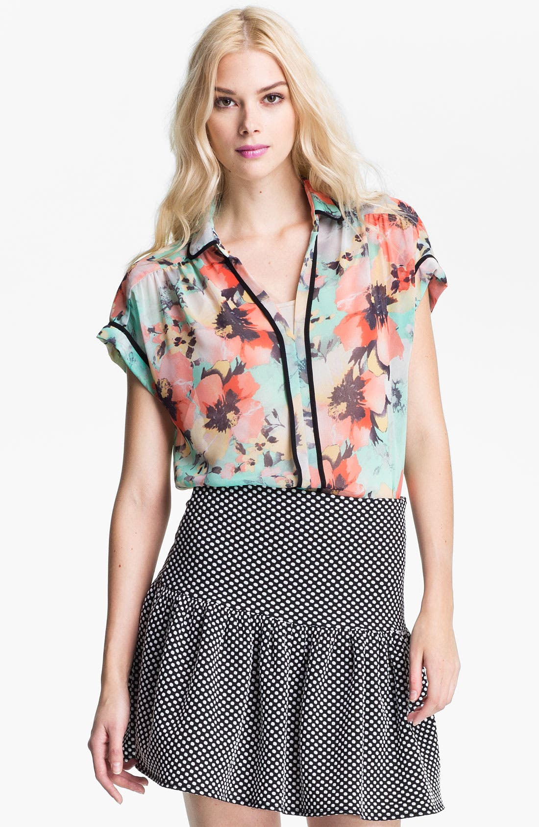 Alternate Image 1 Selected - Ace Delivery Floral Print Collar Top