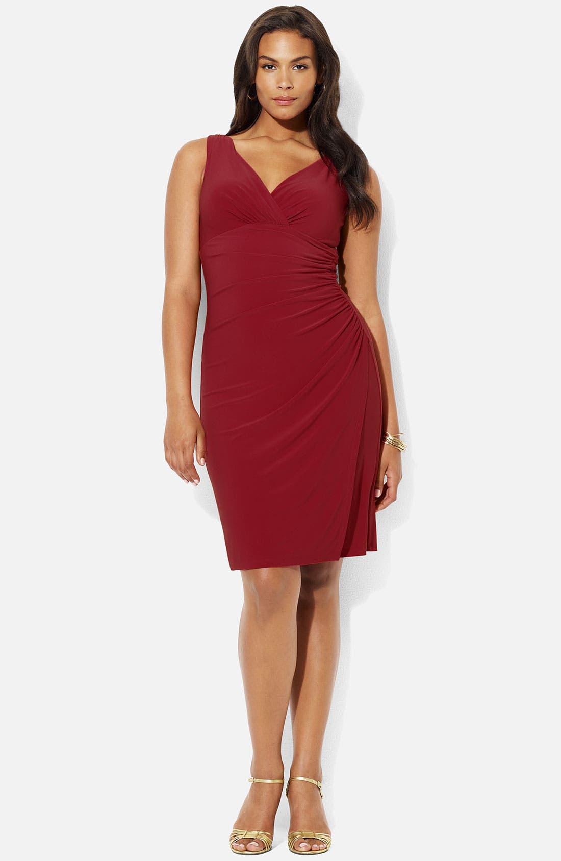 Main Image - Lauren Ralph Lauren V-Neck Jersey Sheath Dress (Plus)