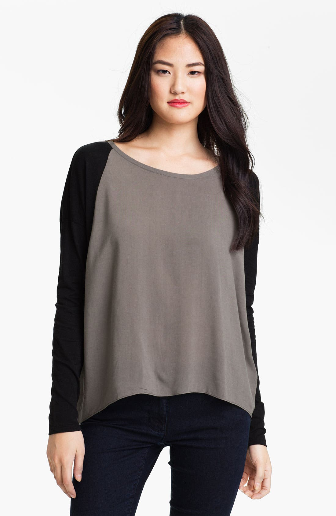 Main Image - Two by Vince Camuto Colorblock Mix Media Tee