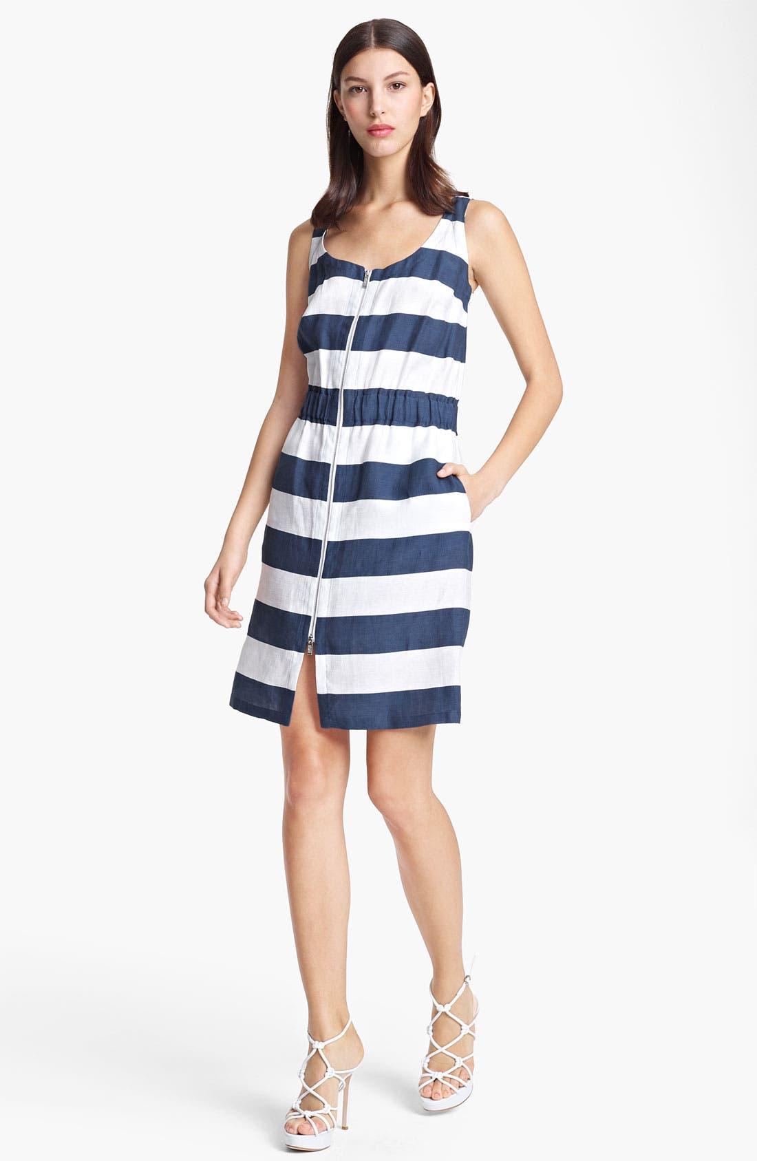 Main Image - Armani Collezioni Stripe Zip Front Dress