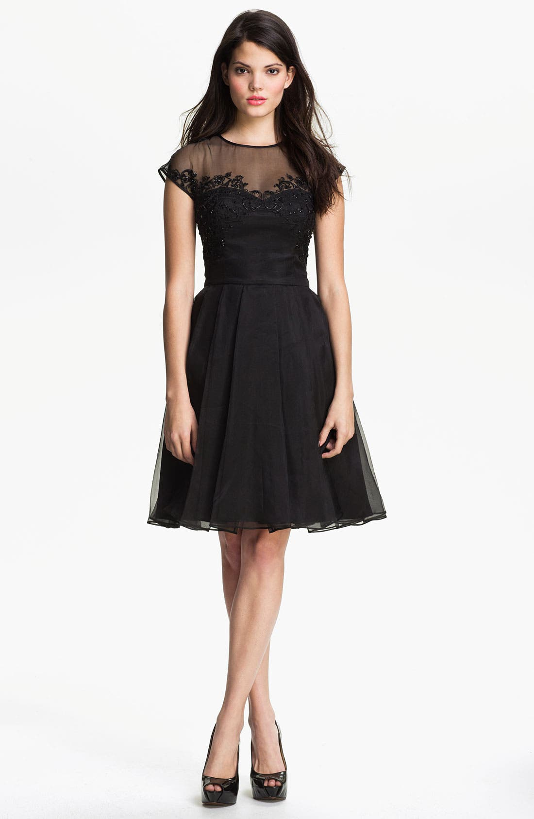 Alternate Image 1 Selected - Ted Baker London Embellished Silk Fit & Flare Dress