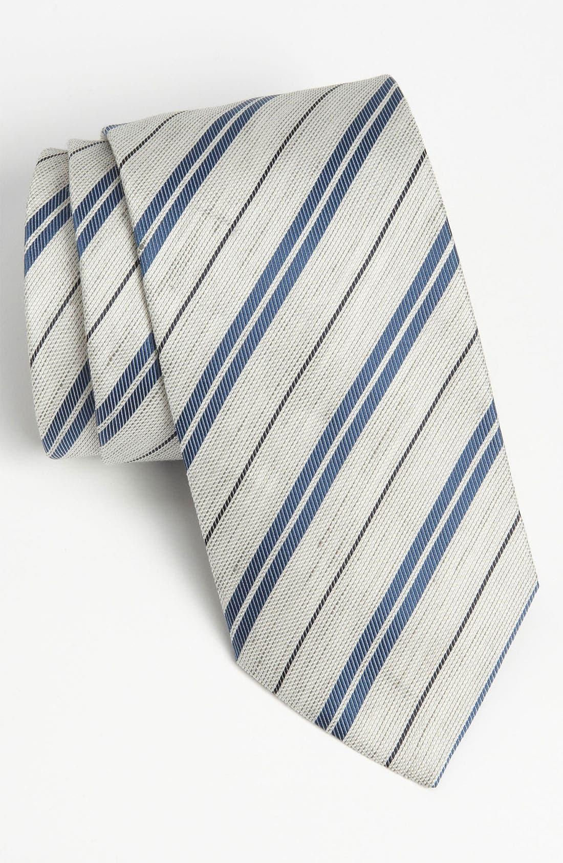 Silk Blend Tie,                         Main,                         color, Grey/ Blue Stripe
