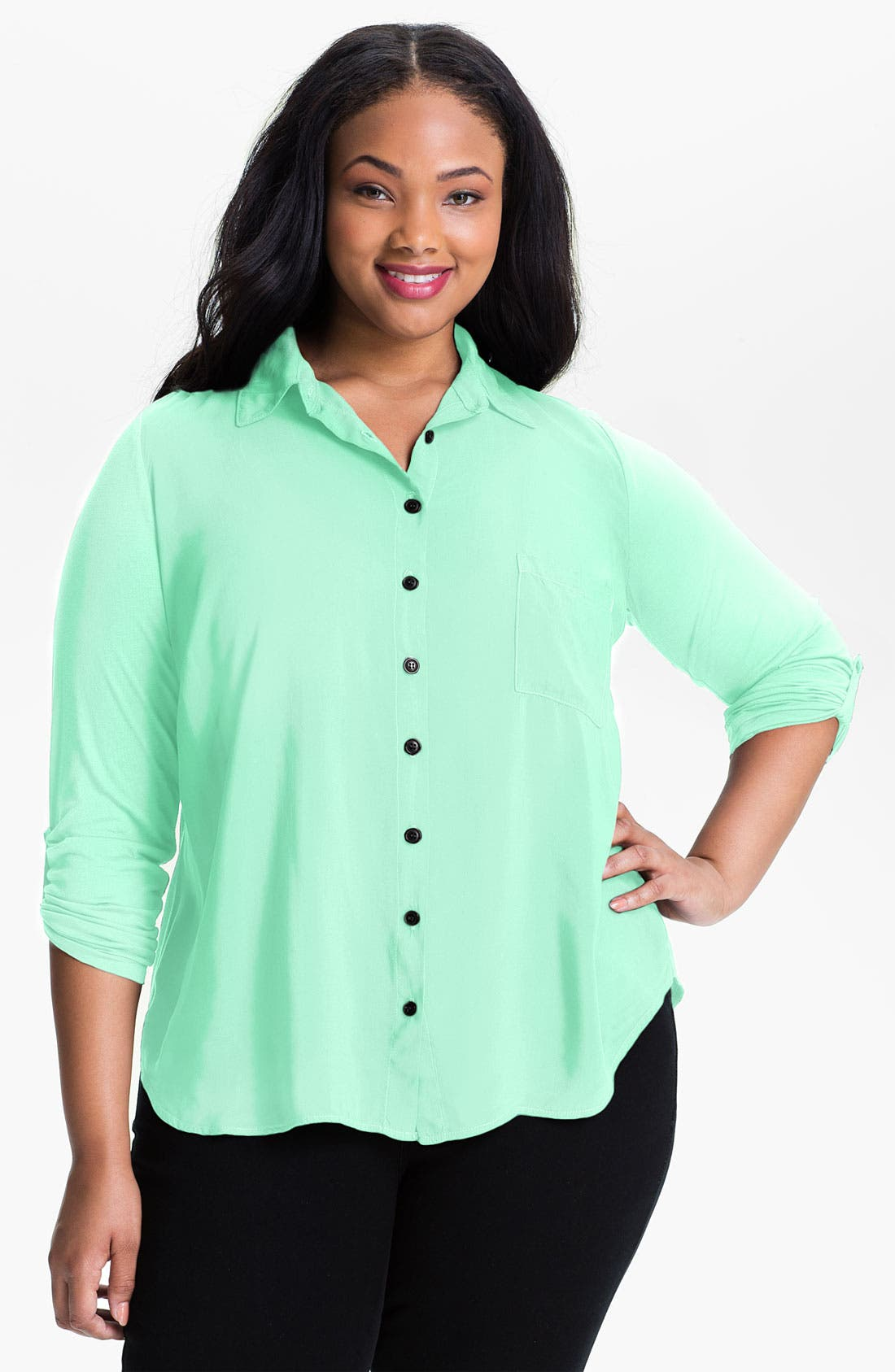 Alternate Image 1 Selected - Splendid Mixed Media Shirt (Plus Size)