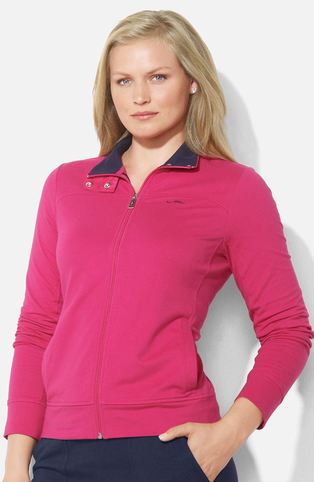 Alternate Image 1 Selected - Lauren Ralph Lauren Mock Neck Zip Front Jacket (Plus)