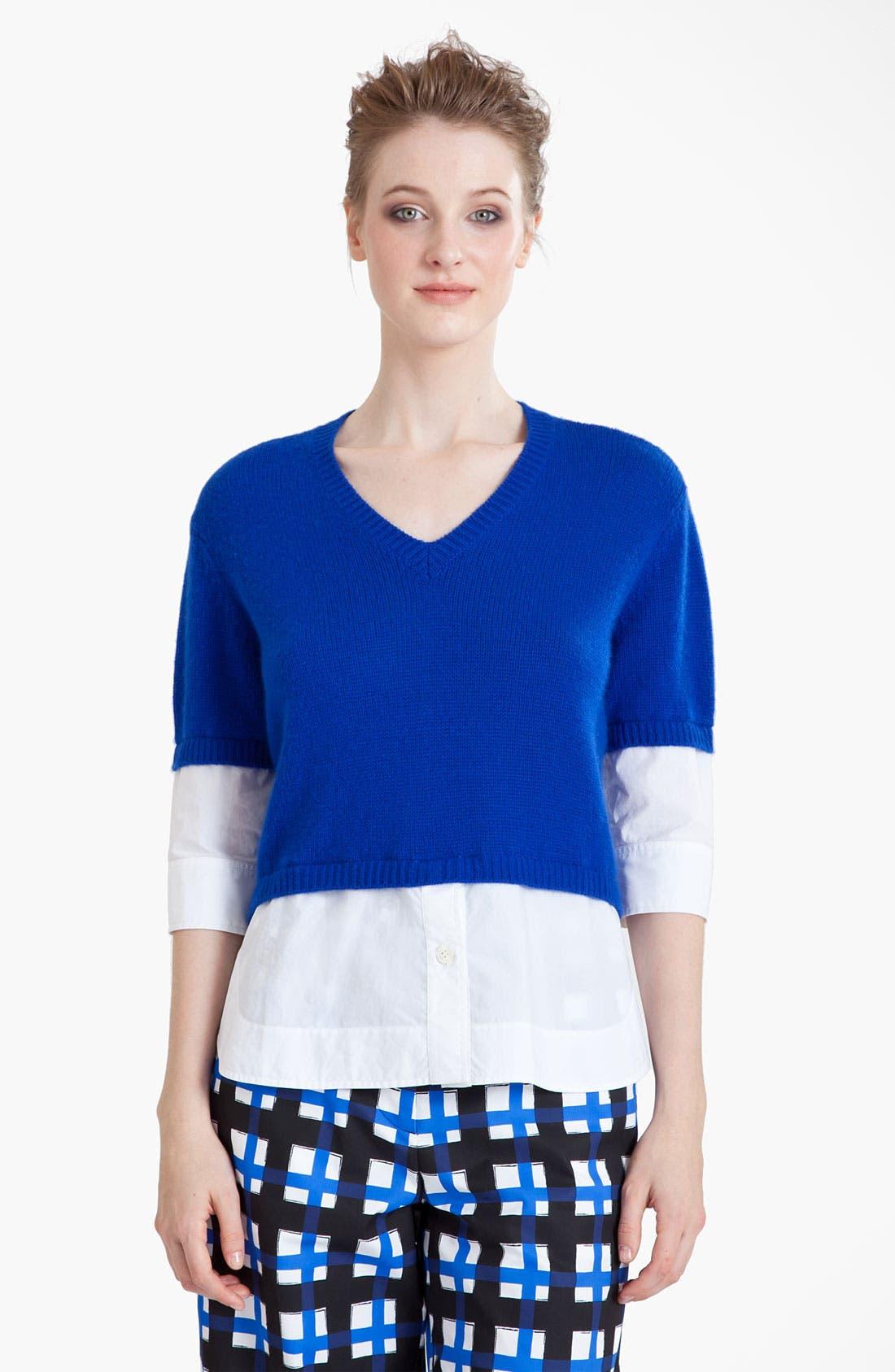 Alternate Image 1 Selected - Marni Cashmere & Poplin Top
