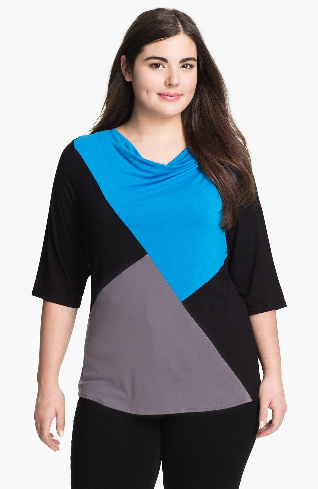 Main Image - Sejour Colorblock Drape Neck Top (Plus)