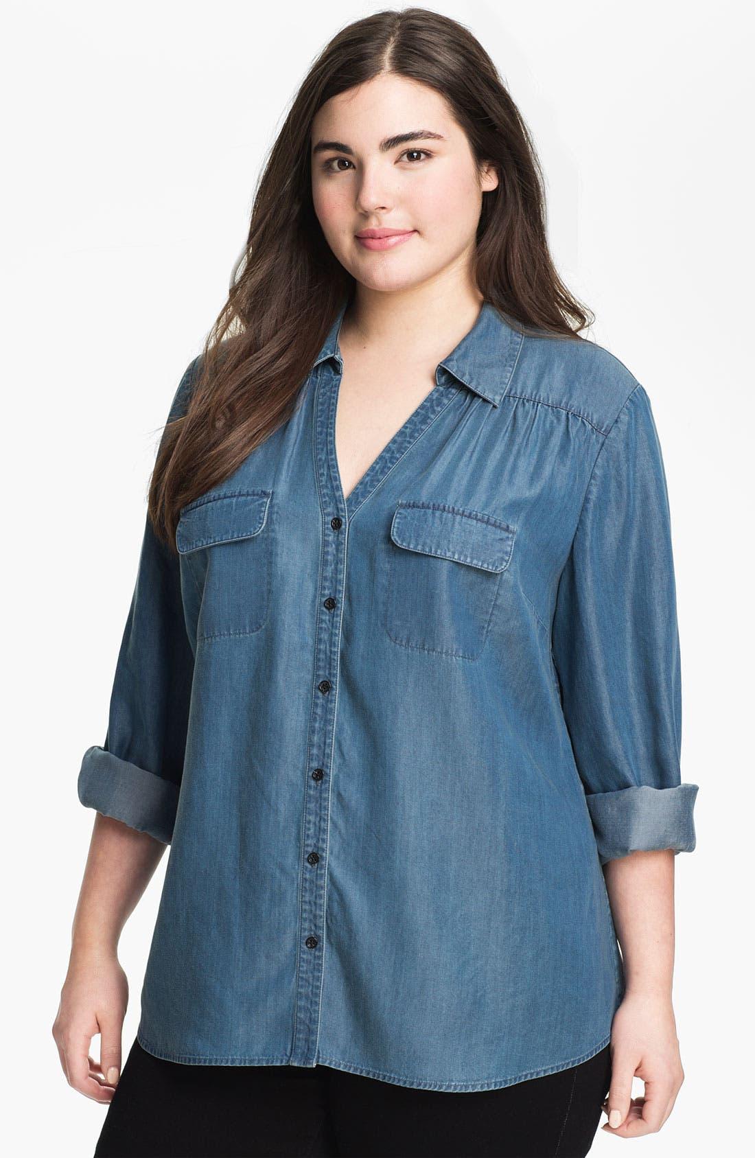 Main Image - Sejour Chambray Button Shirt (Plus Size)