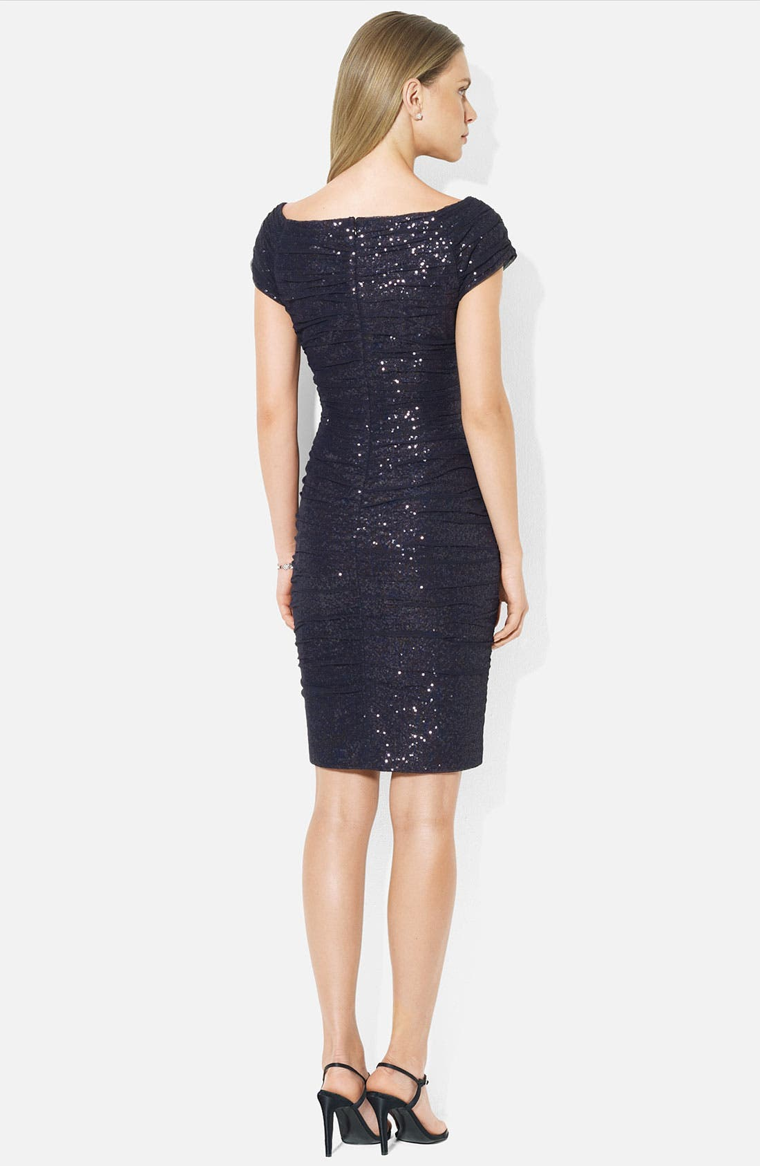 Alternate Image 2  - Lauren Ralph Lauren Ruched Cap Sleeve Sheath Dress