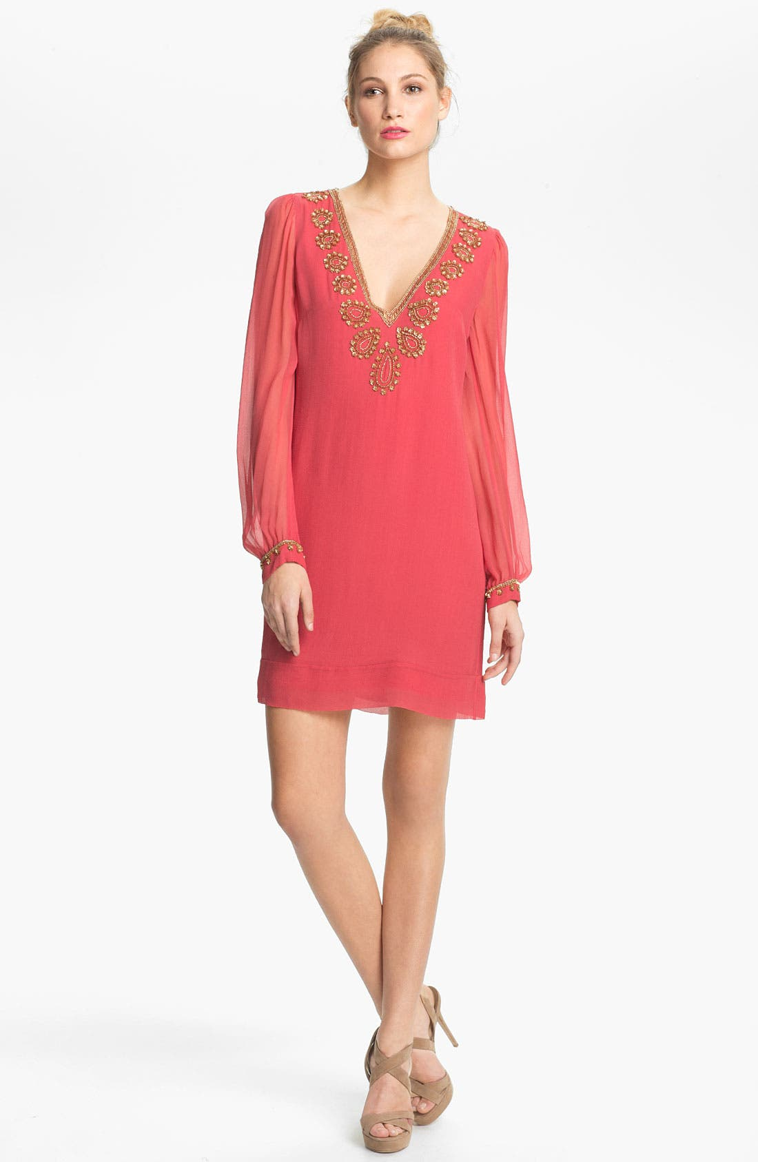 Main Image - French Connection Embellished V-Neck Illusion Sleeve Silk Shift Dress