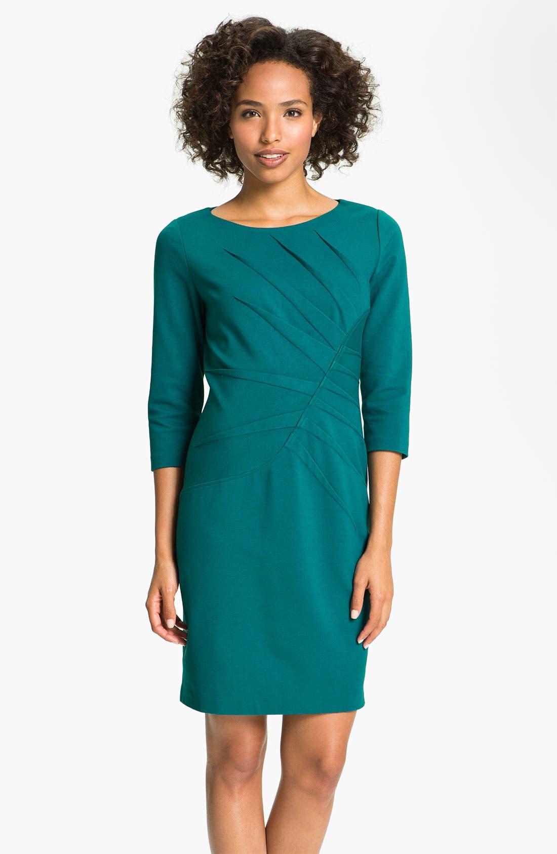 Alternate Image 1 Selected - Adrianna Papell Inverted Pleat Ponte Sheath Dress (Petite)