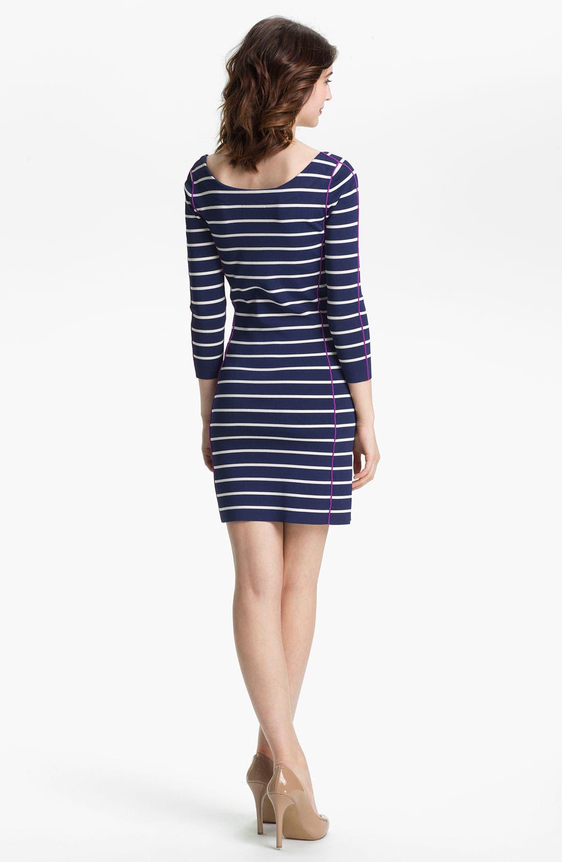 Alternate Image 2  - Jessica Simpson Contrast Trim Stripe Knit Sheath Dress