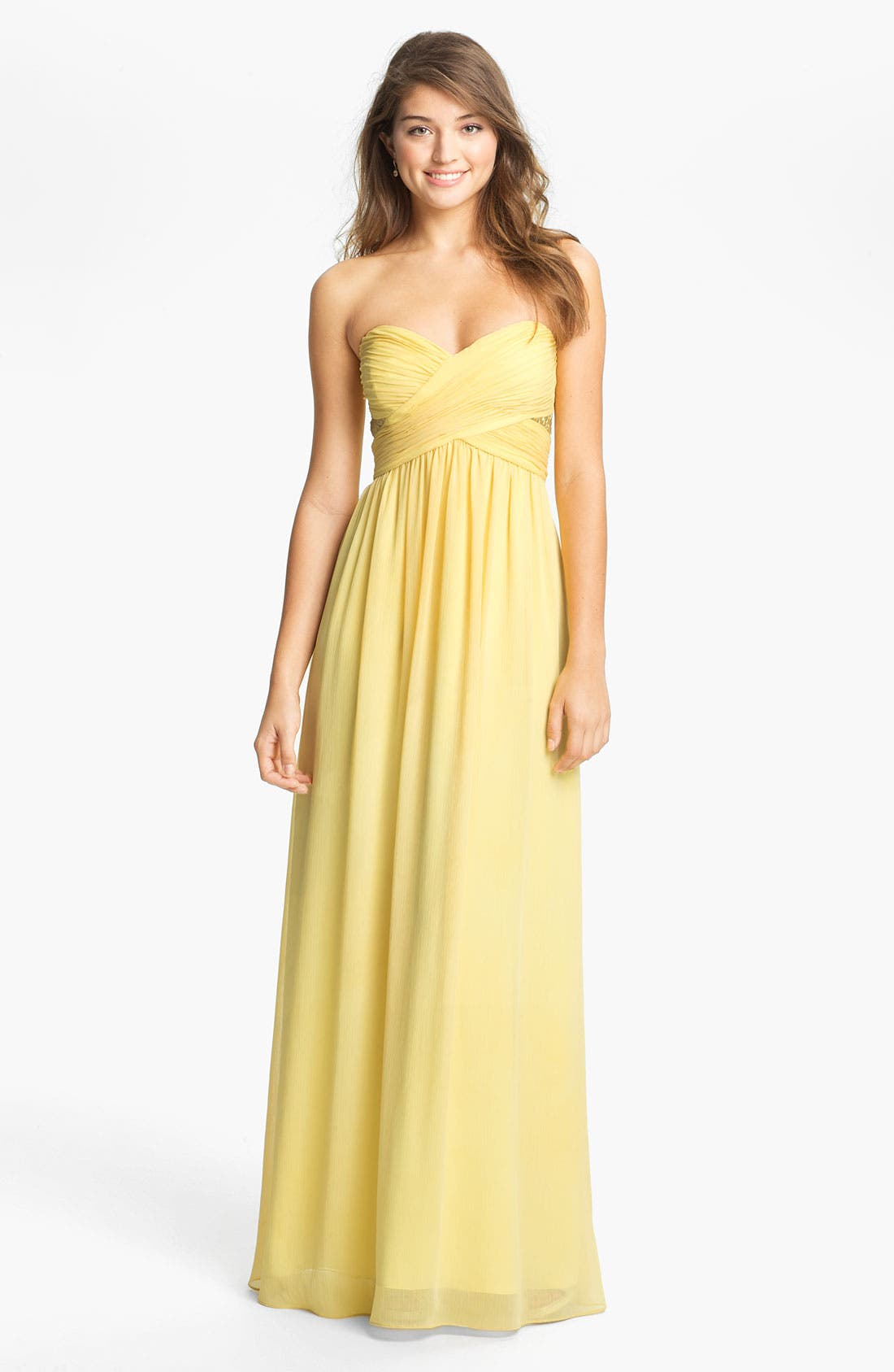 Alternate Image 1 Selected - Max & Cleo Strapless Chiffon Gown
