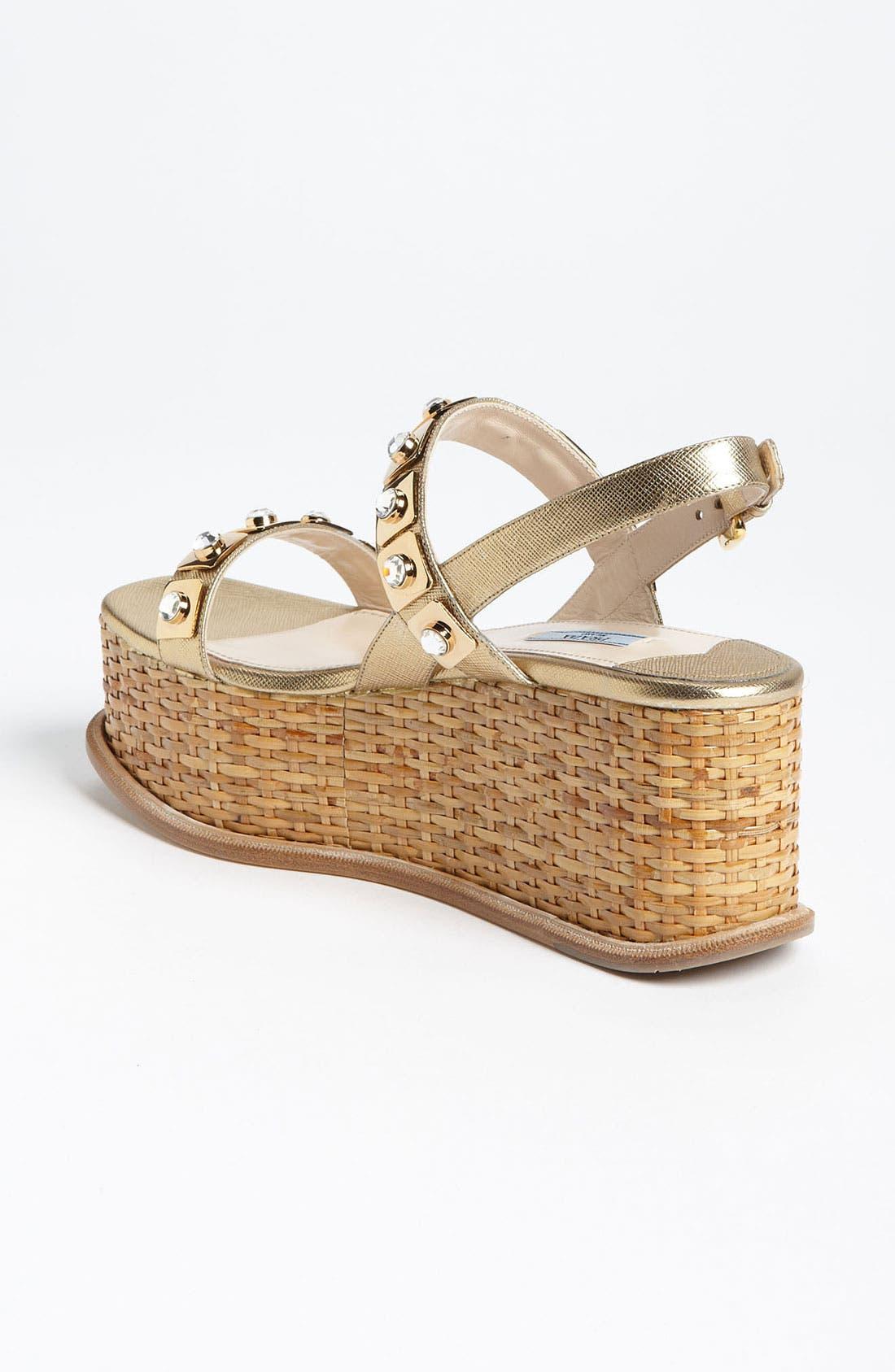 Alternate Image 2  - Prada Two Strap Wedge Sandal