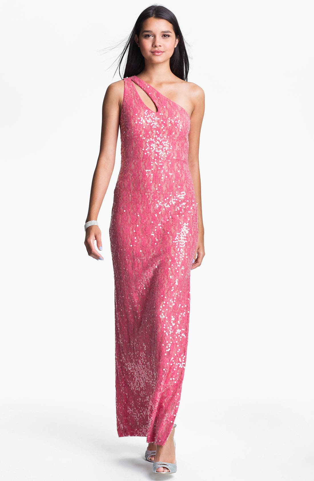 Main Image - Aidan Mattox Sequin One Shoulder Gown