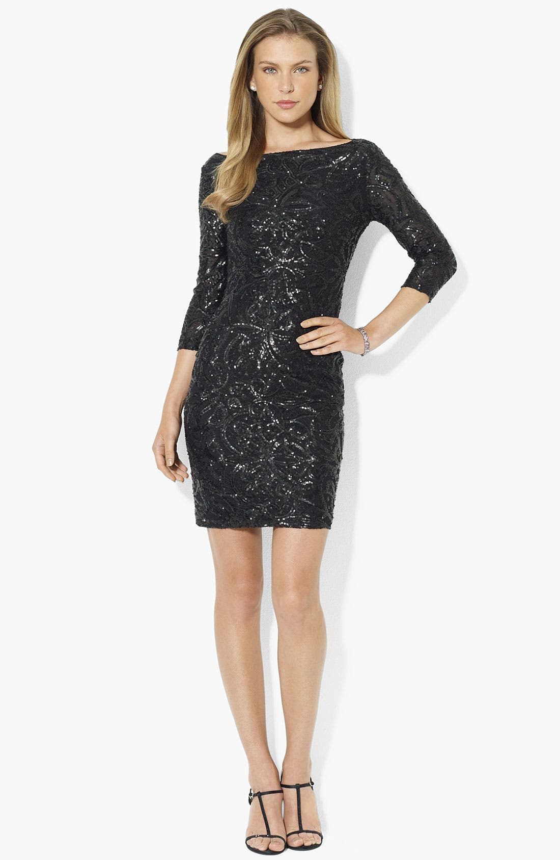 Alternate Image 1 Selected - Lauren Ralph Lauren Embellished Mesh Sheath Dress