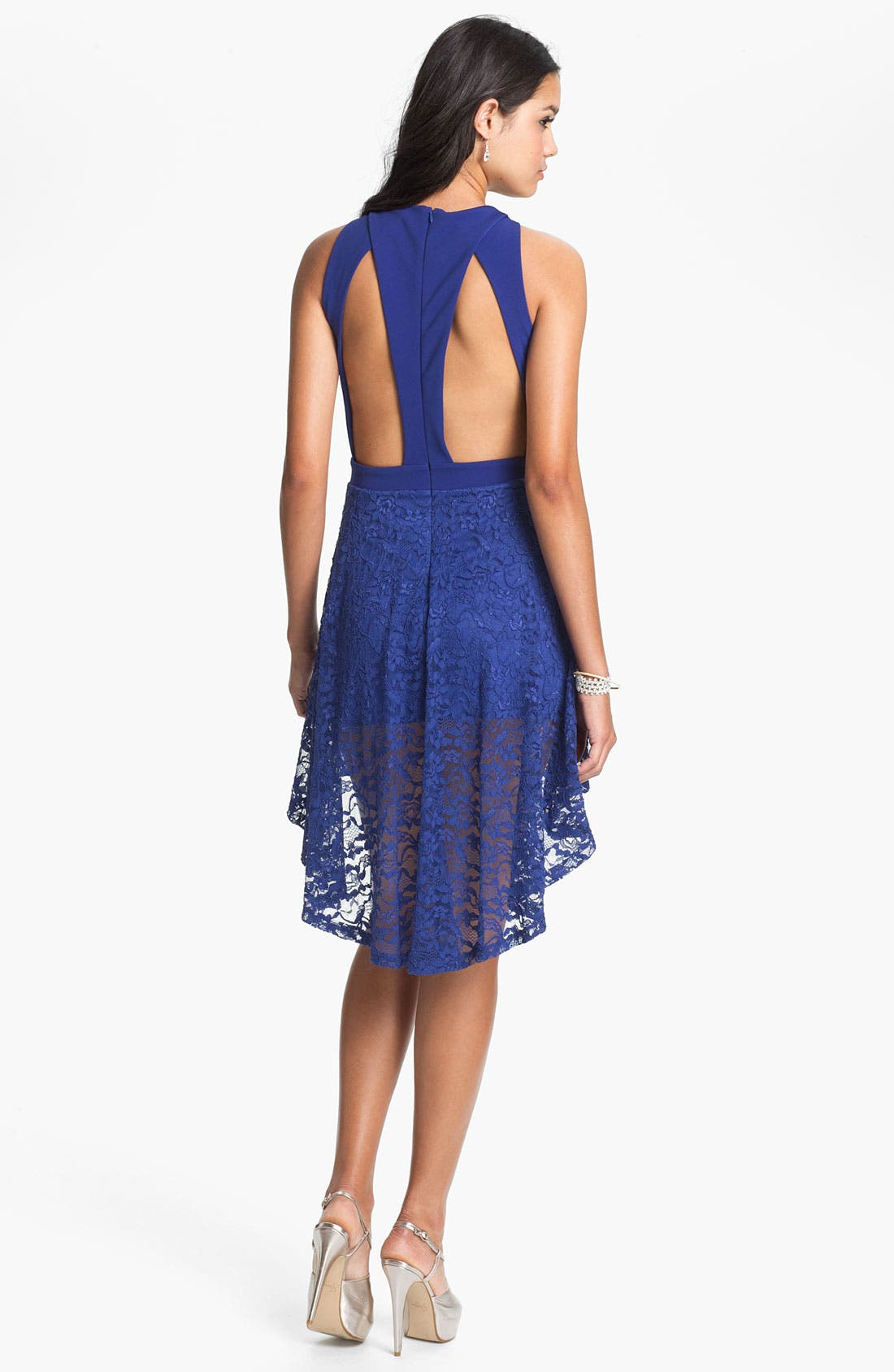 Main Image - Lush High/Low Lace Cutout Dress (Juniors)