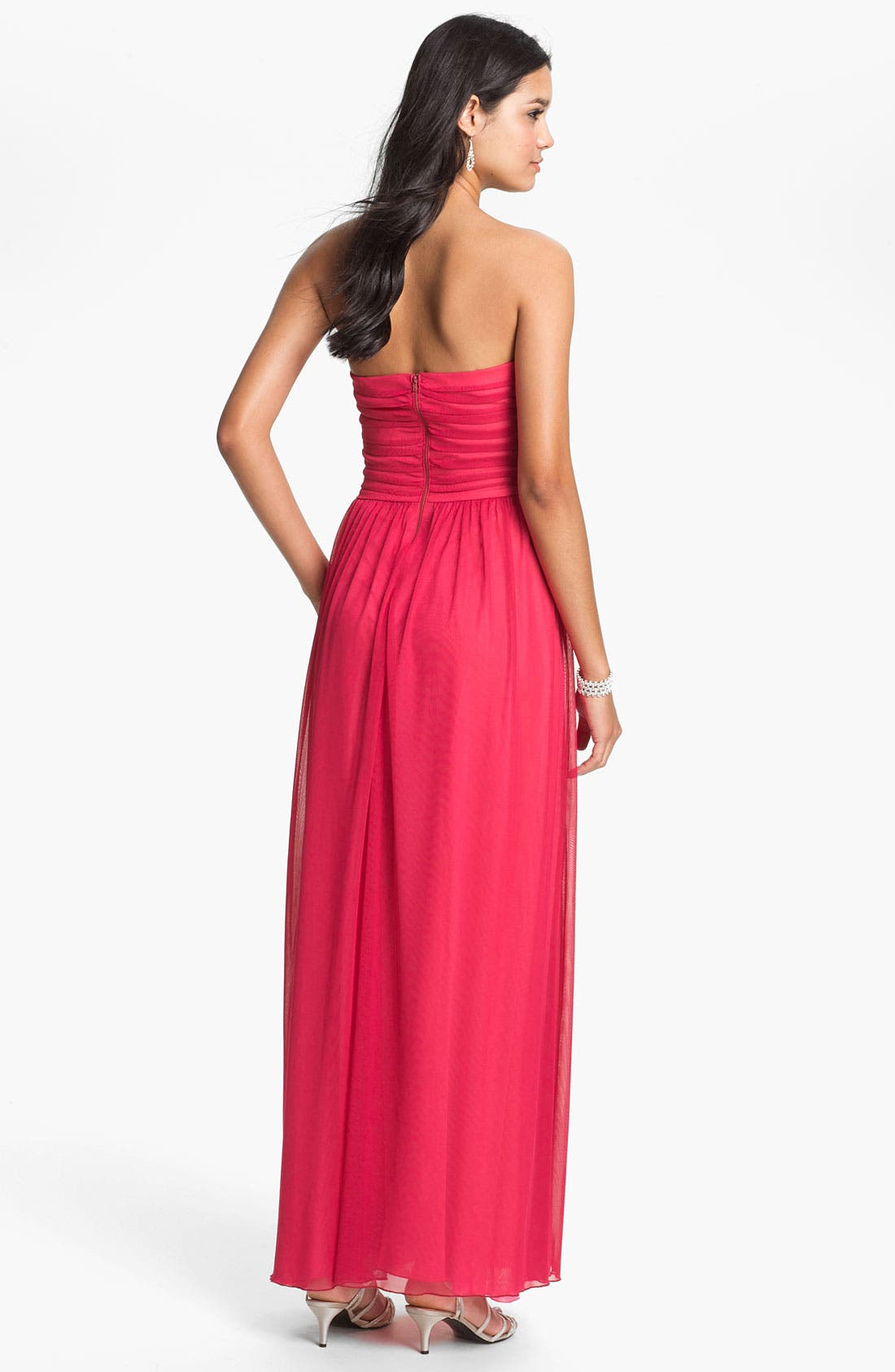 Alternate Image 2  - Way-In Strapless Pleated Chiffon Gown (Juniors)