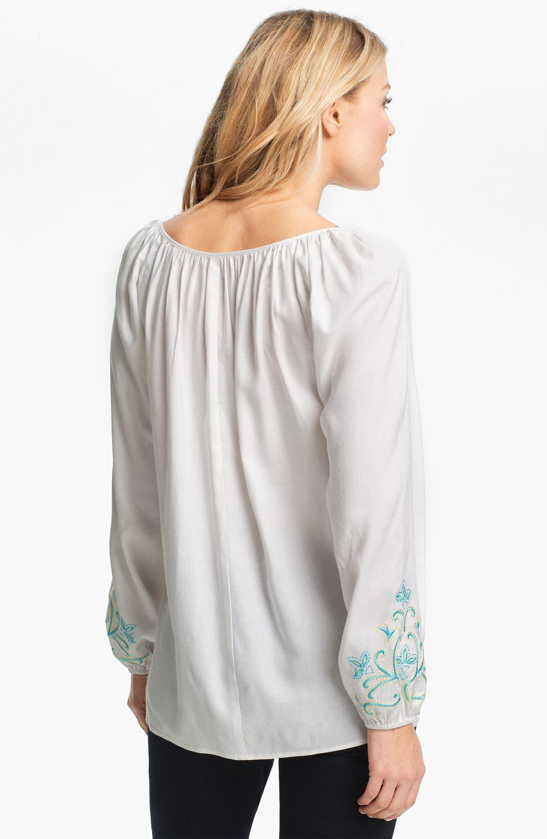 Alternate Image 2  - Karen Kane Tassel Tie Embroidered Blouse