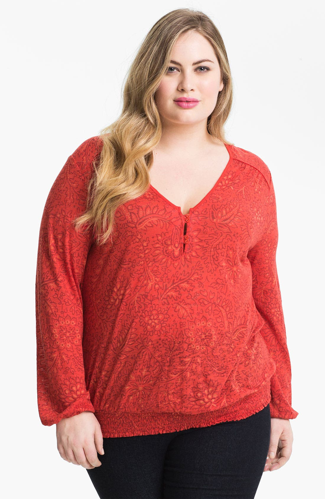 Alternate Image 1 Selected - Lucky Brand 'Sundial' Print Top (Plus Size)