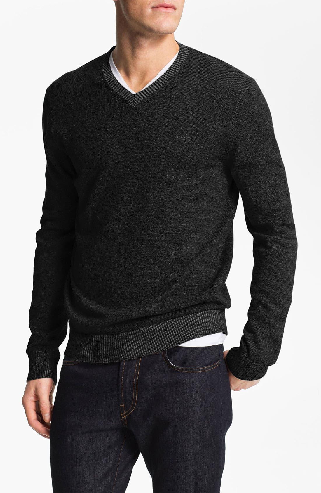 Alternate Image 1 Selected - RVCA Plaited V-Neck Sweater