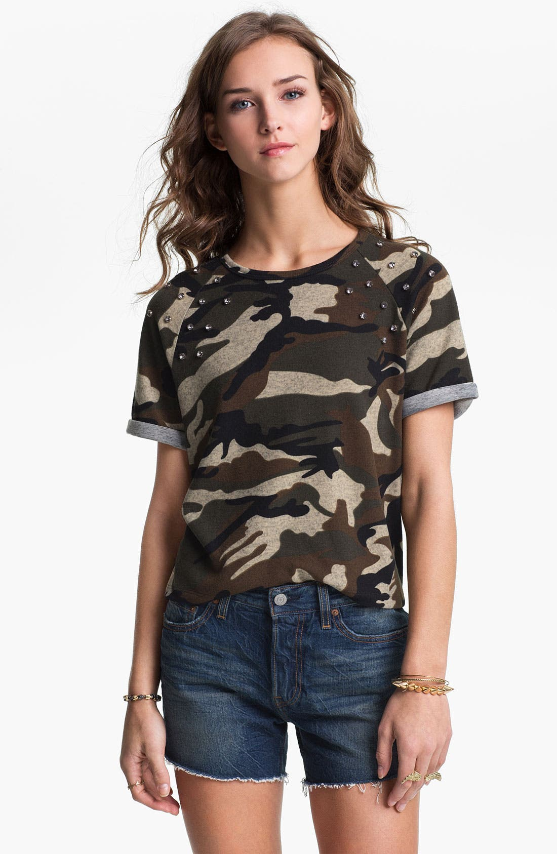 Alternate Image 1 Selected - Elodie Rhinestone Stud Camo Tee (Juniors)