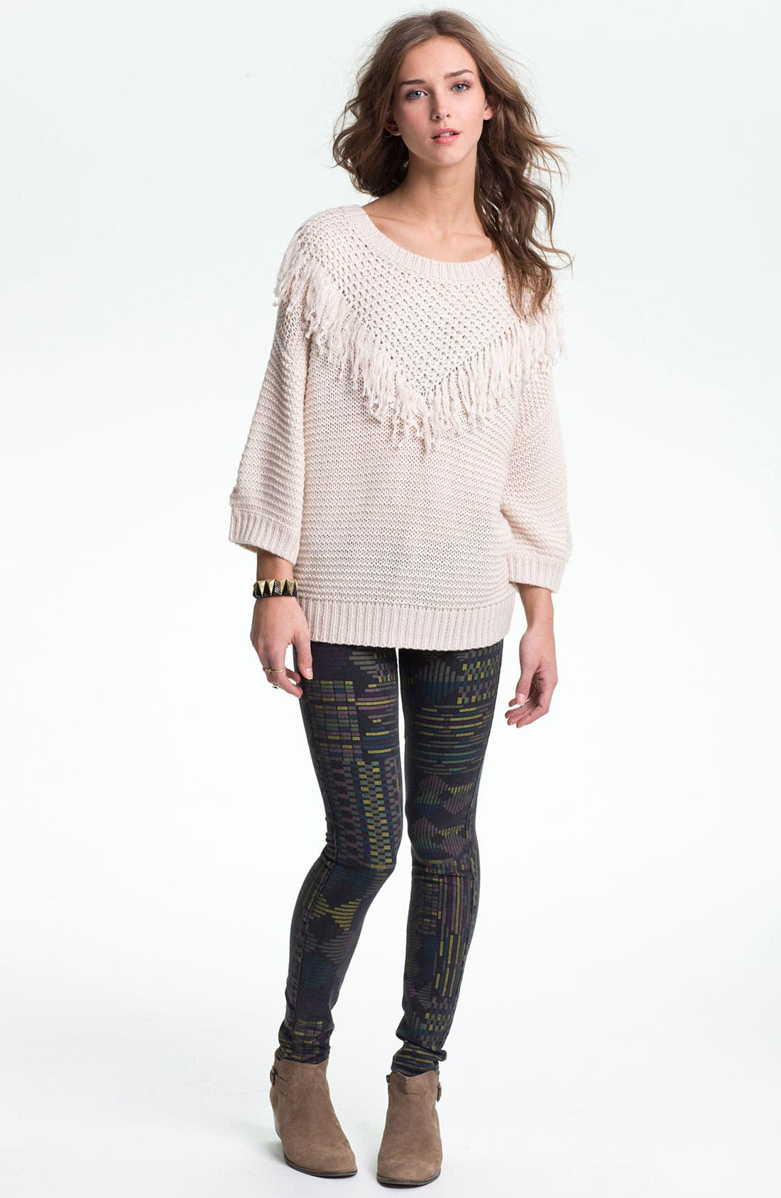 Alternate Image 4  - Rubbish® Fringed Slouchy Sweater (Juniors)