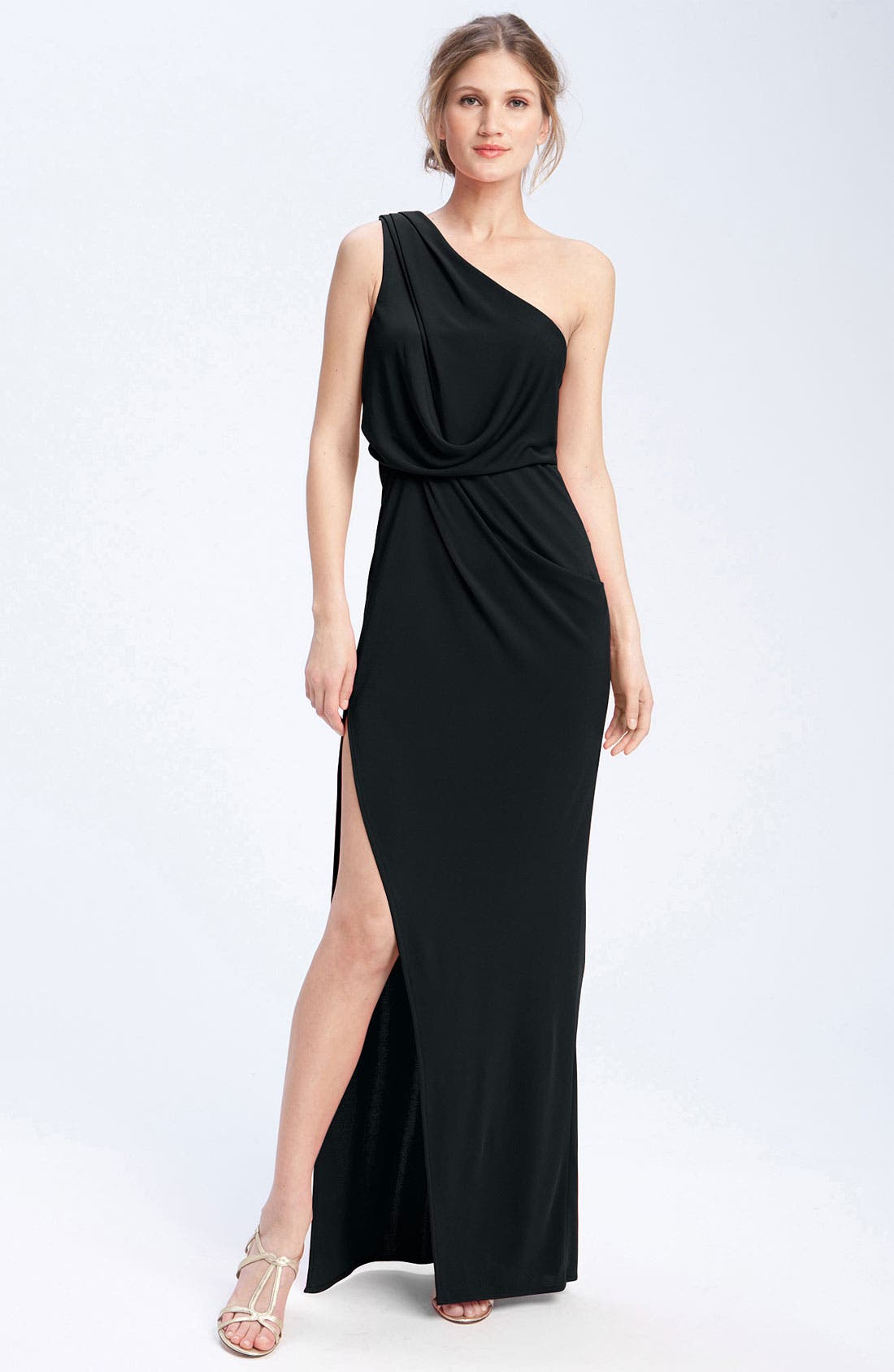 Main Image - BCBGMAXAZRIA One Shoulder Jersey Gown