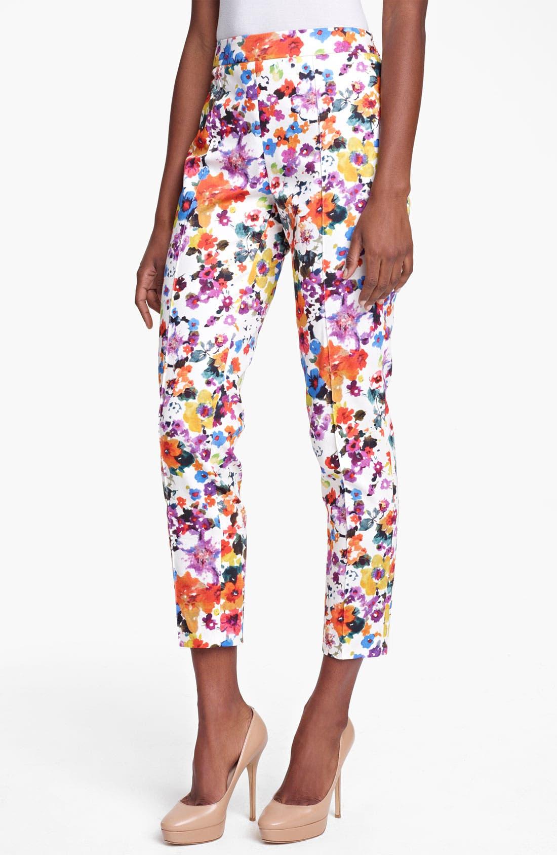 Main Image - Max Mara 'Friscia' Floral Print Stretch Cotton Crop Pants