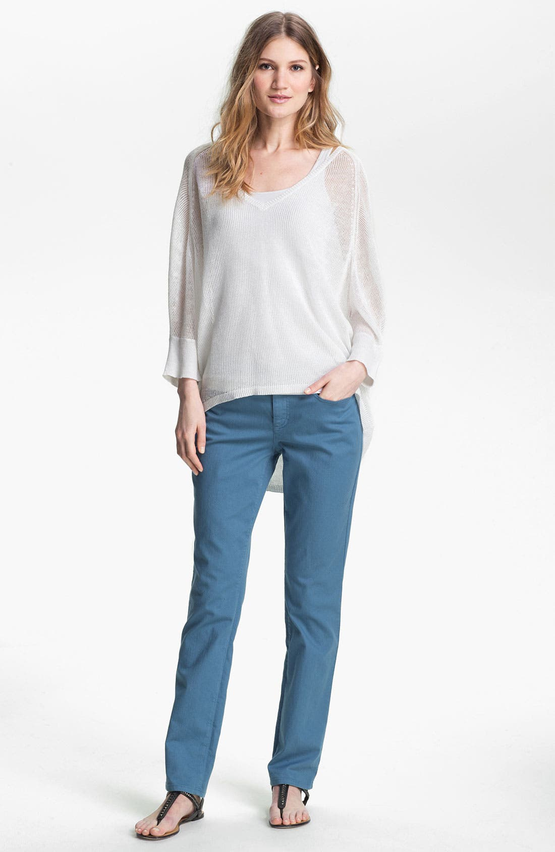 Alternate Image 4  - Eileen Fisher V-Neck Mesh Sweater (Online Exclusive)