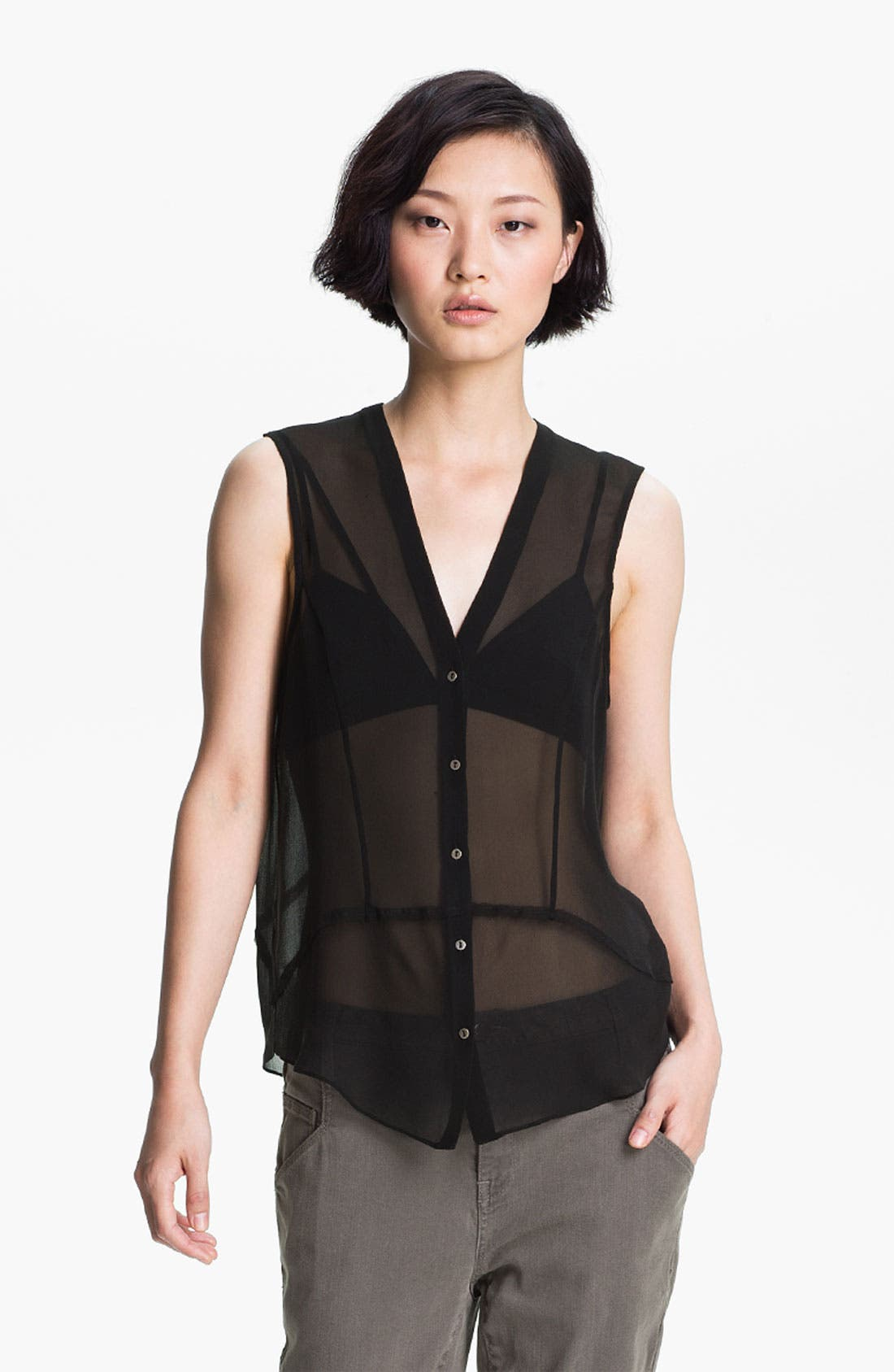 Alternate Image 1 Selected - HELMUT Helmut Lang 'Ghost Silk' Button Front Top