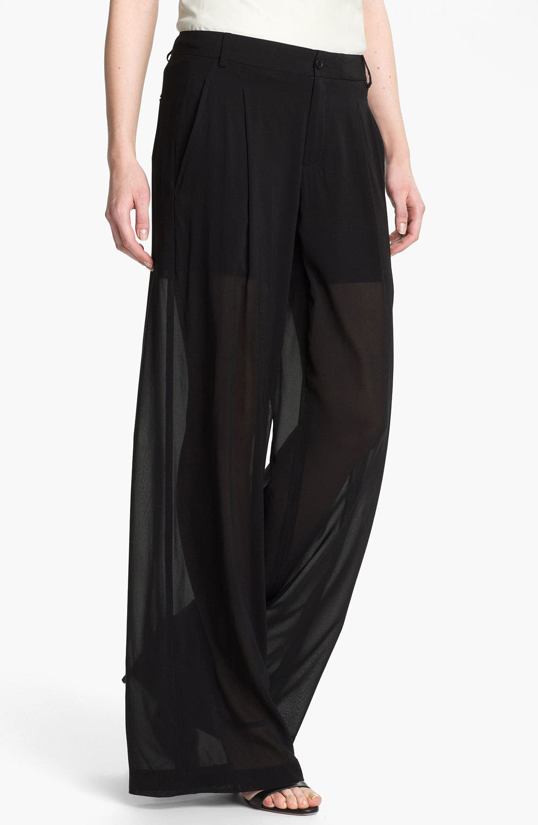 Alternate Image 1 Selected - Vince Silk Wide Leg Trousers
