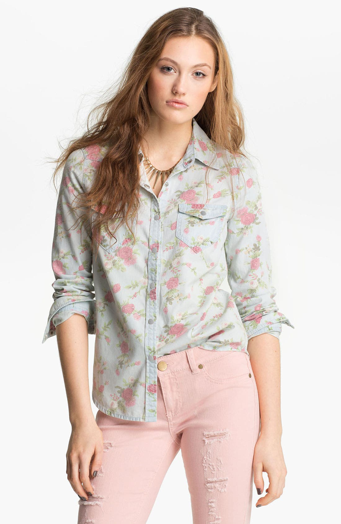 Alternate Image 1 Selected - Fire Floral Chambray Shirt (Juniors)