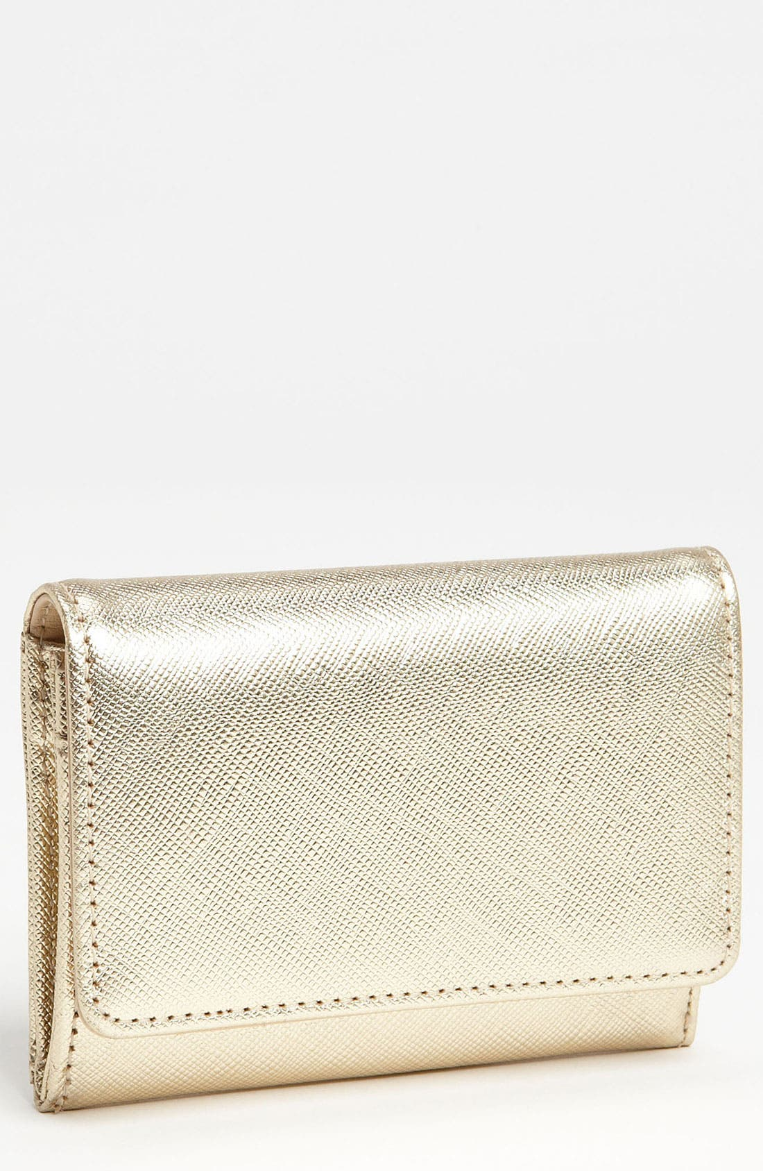 'Emily' Leather Key Clip Wallet,                         Main,                         color, Gold Metallic