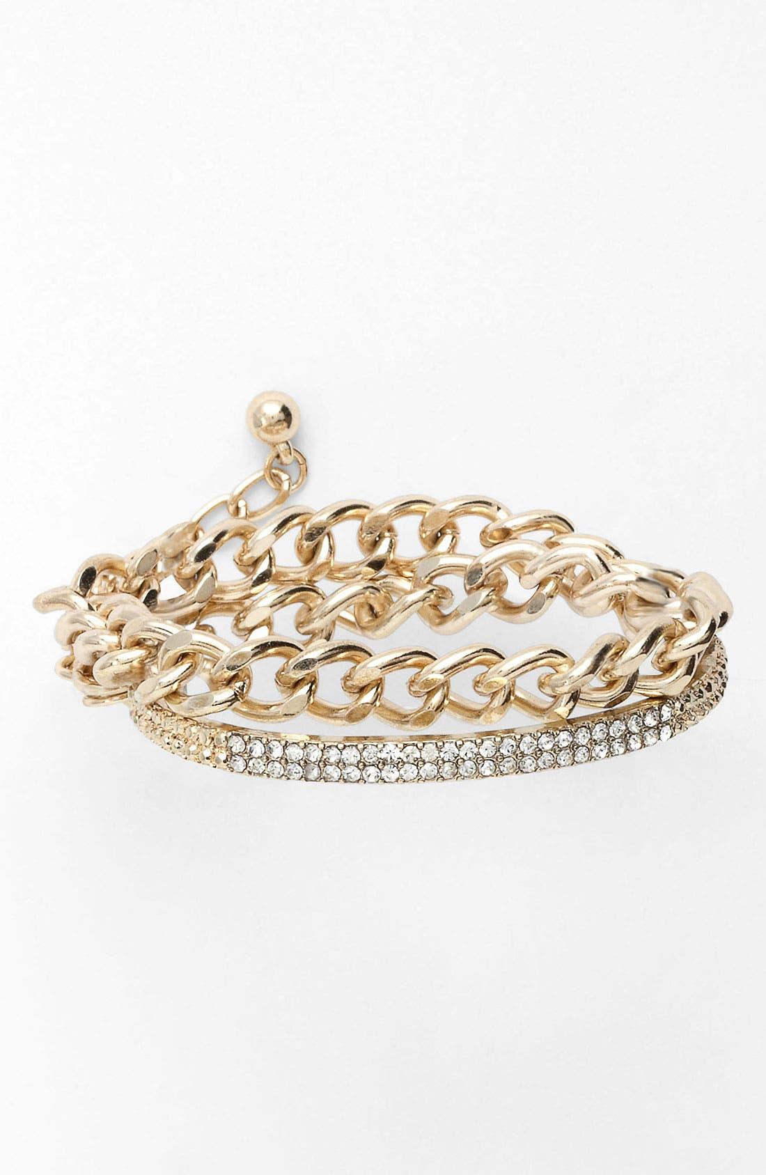 Main Image - BP. Chain & Rhinestone Wrap Bracelet