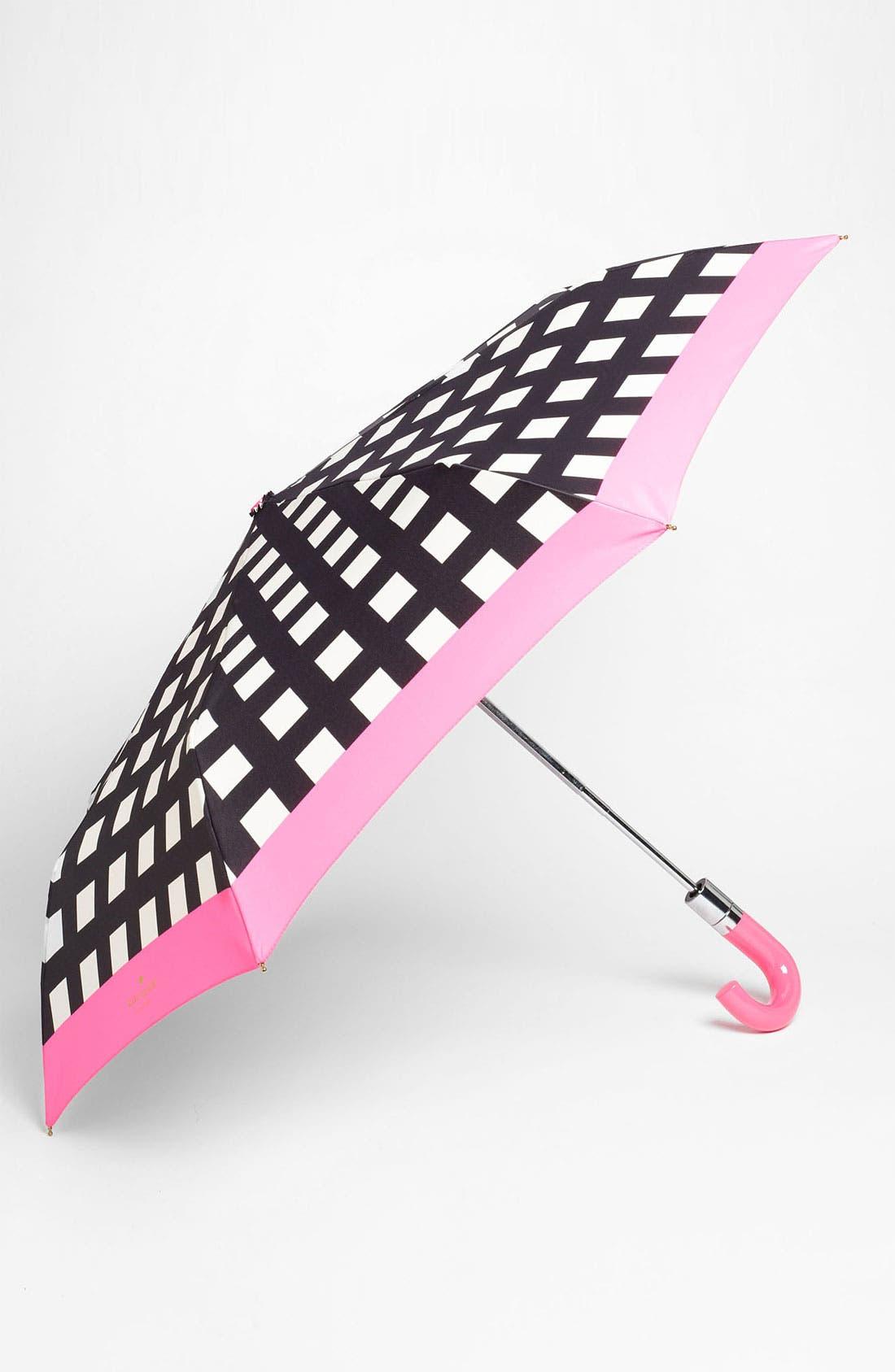 'pop art' check umbrella,                         Main,                         color, Black/ Cream/ Bazooka Pink