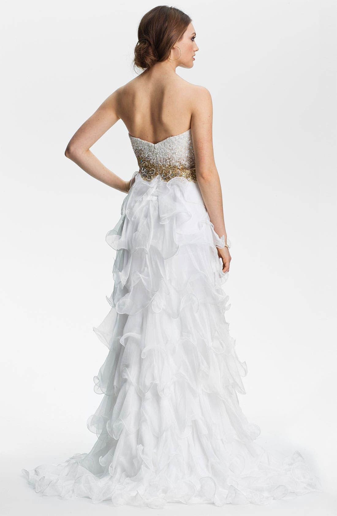 Alternate Image 2  - Sherri Hill Ruffled High/Low Chiffon Gown