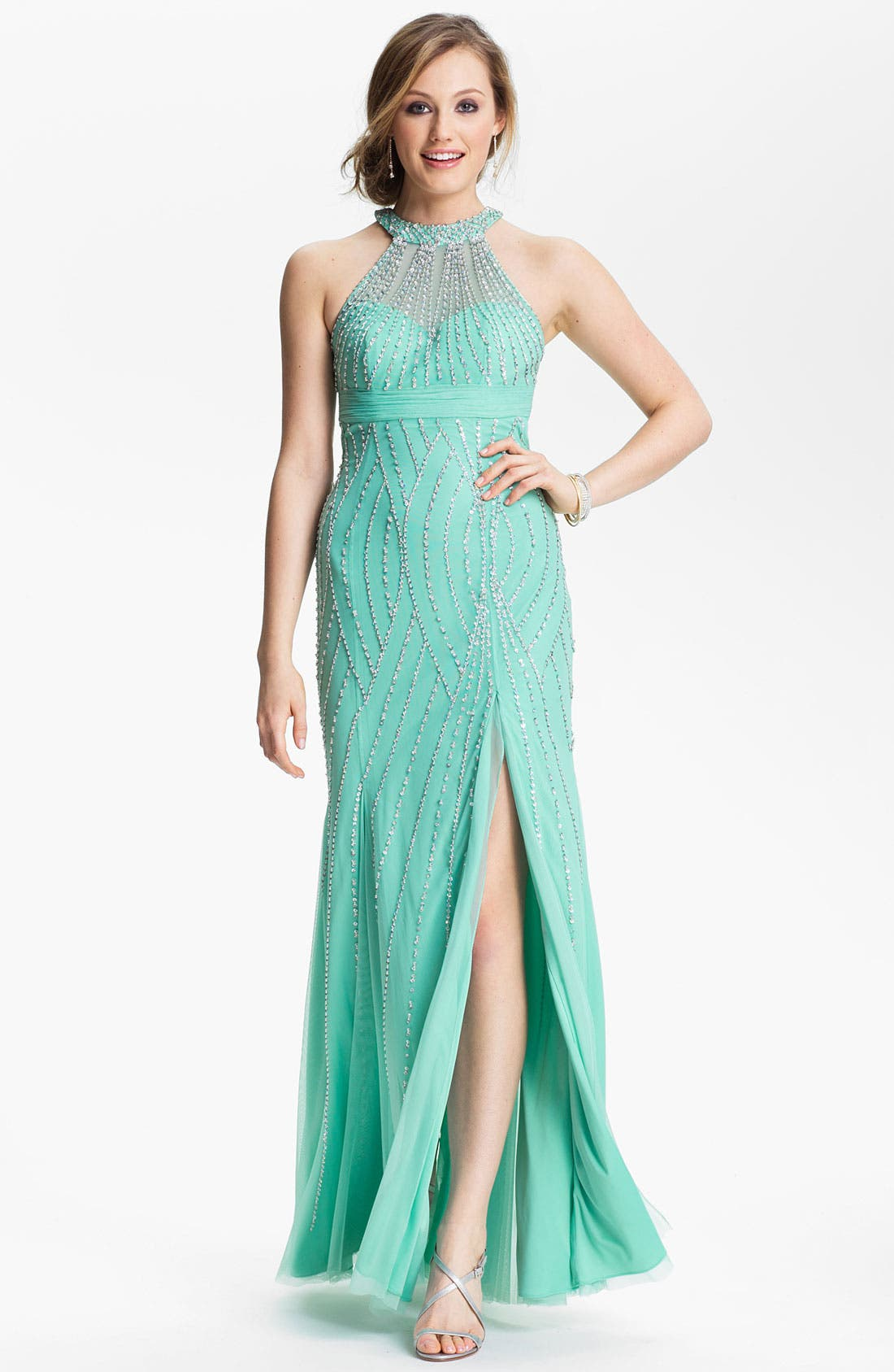 Alternate Image 1 Selected - Sean Collection Embellished Mesh Trumpet Gown (Online Exclusive)