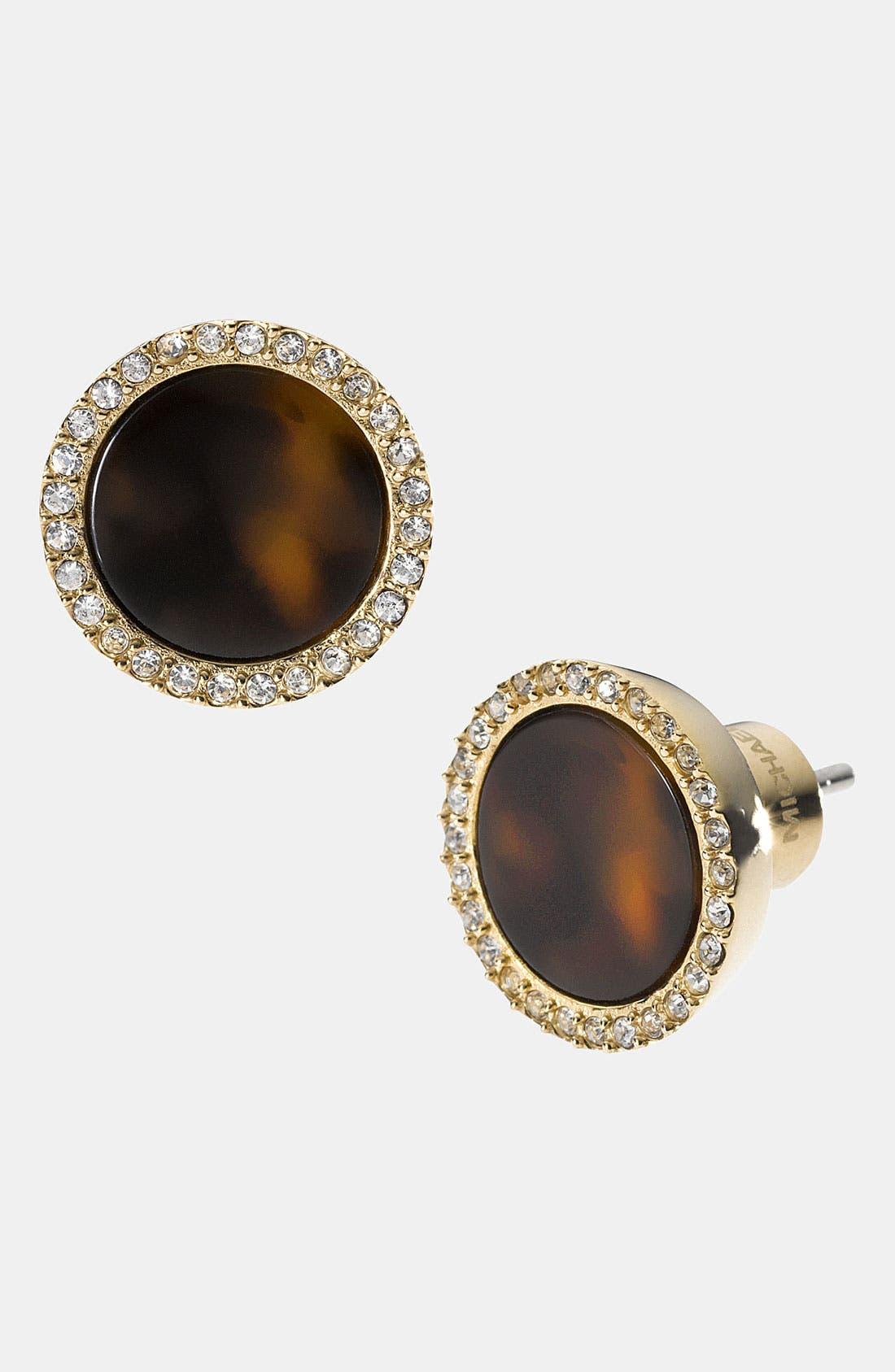 Michael Kors 'Brilliance' Stud Earrings,                             Main thumbnail 1, color,                             Tortoise/ Clear/ Gold