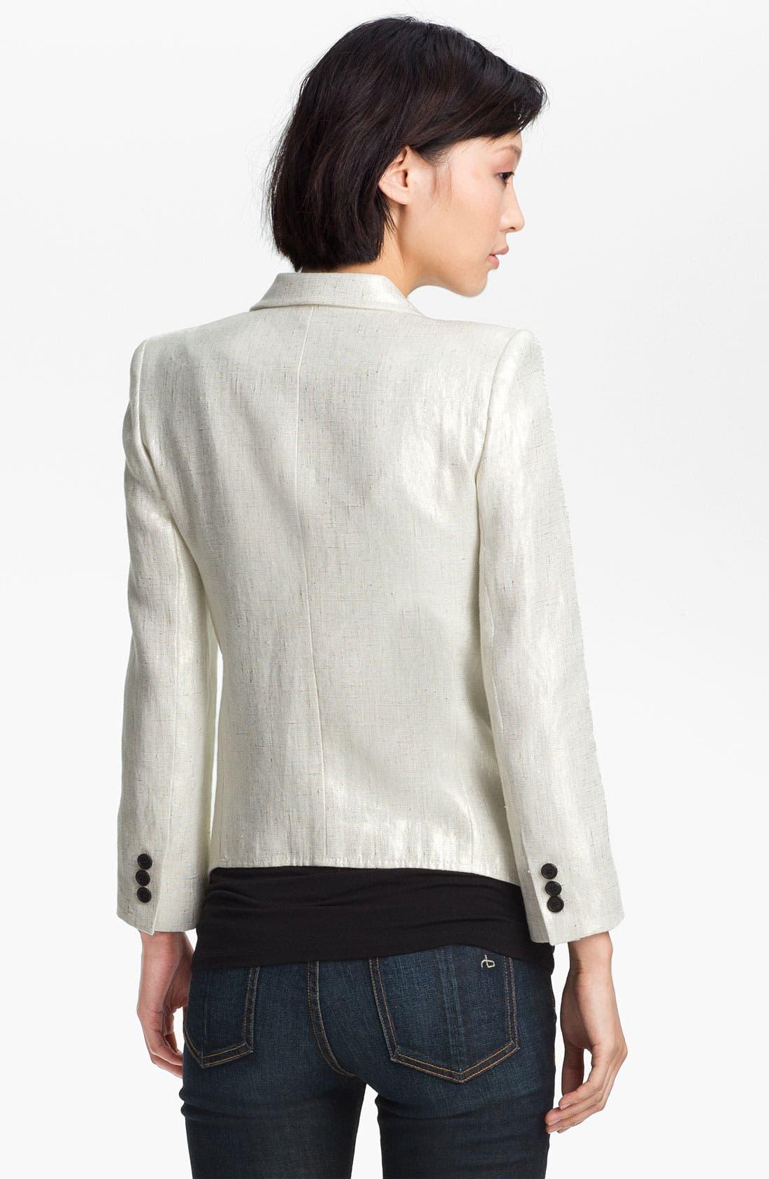 Alternate Image 3  - Smythe Metallic Coated Linen Blazer