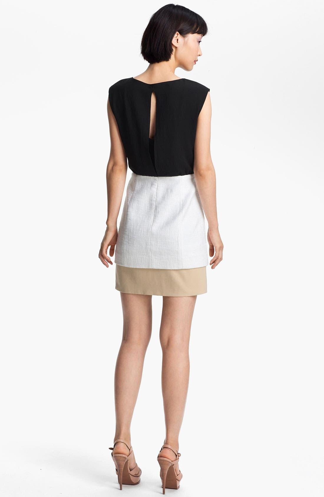 Alternate Image 2  - Tibi Basket Weave Colorblock Dress