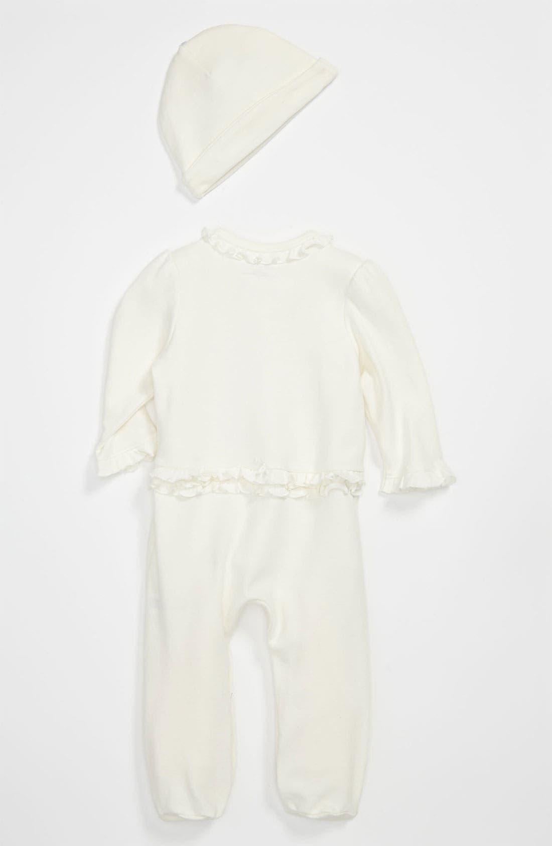 Alternate Image 2  - Little Me 'Rosebud' Footie & Hat (Baby Girls)