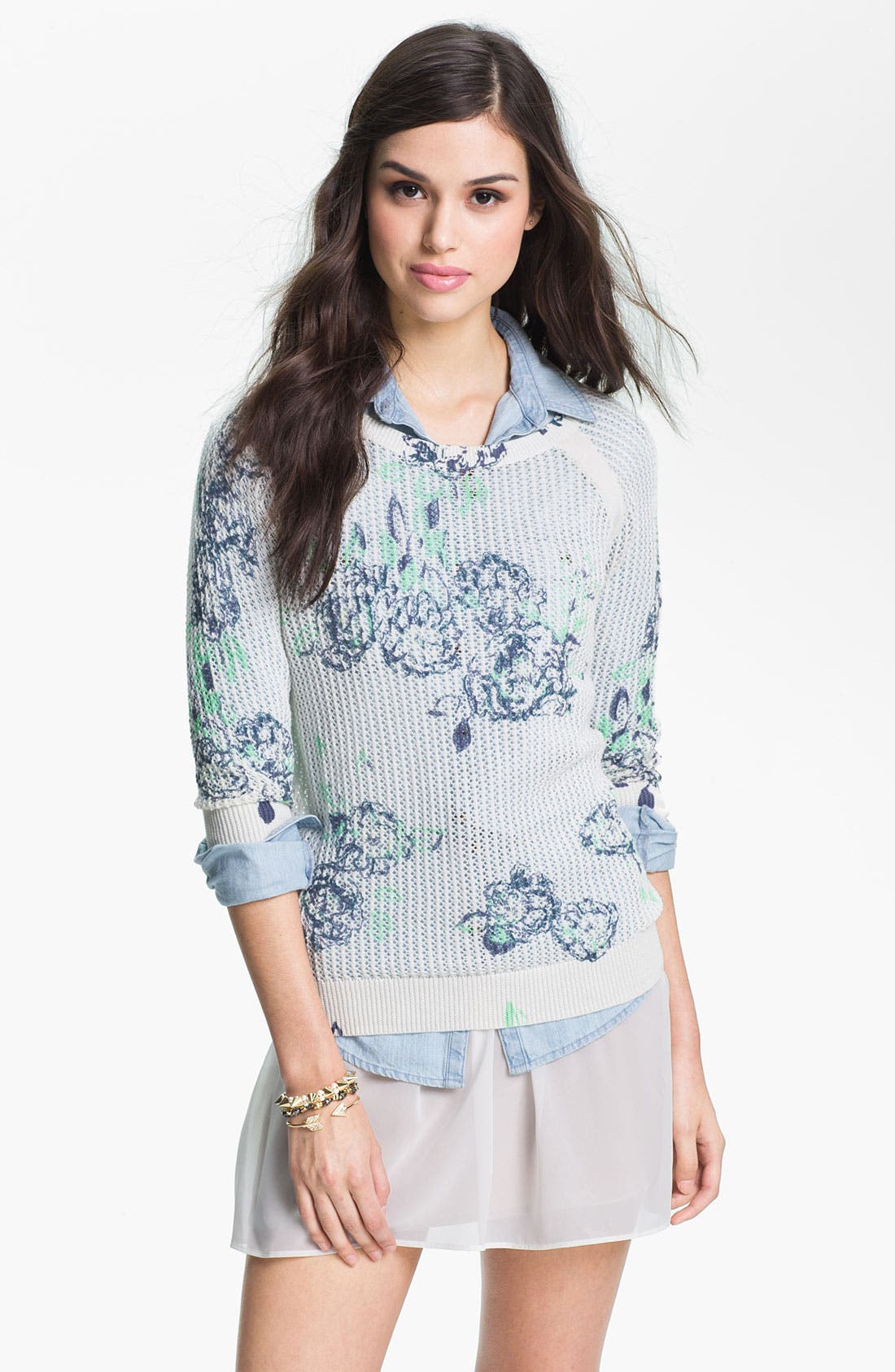 Floral Print Sweater,                             Main thumbnail 1, color,                             Float Floral Ivory