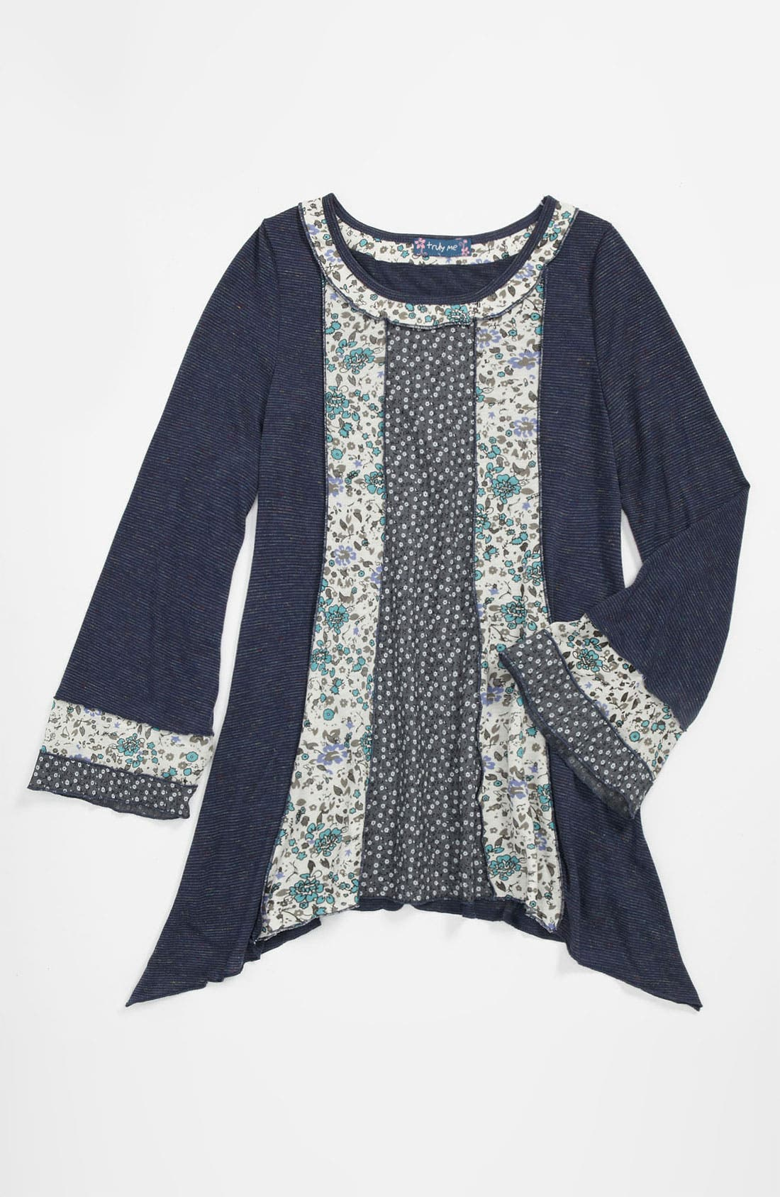 Main Image - Truly Me Mixed Media Tunic (Big Girls)