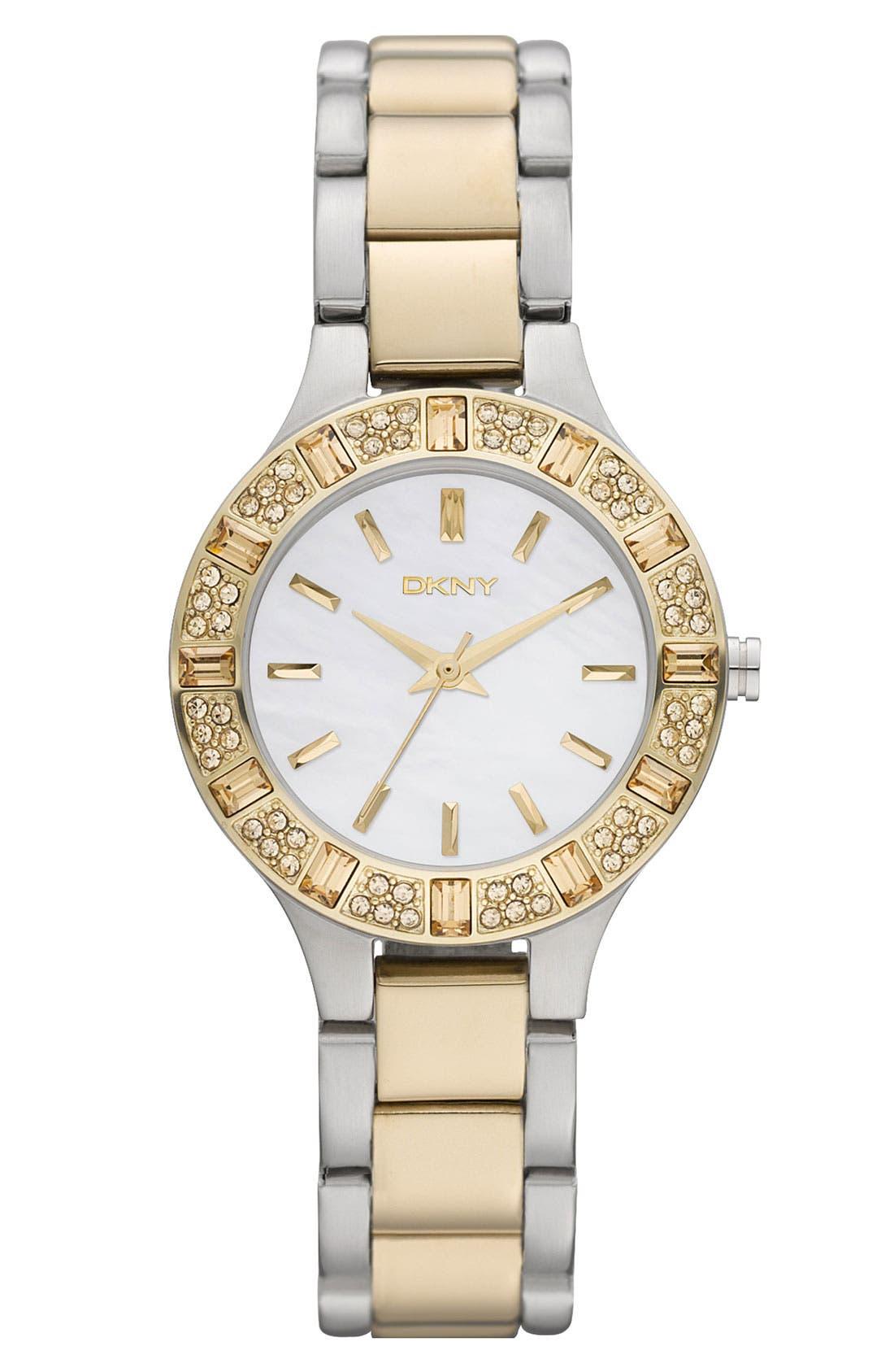 Main Image - DKNY 'Chambers' Crystal Bezel Two Tone Watch, 30mm