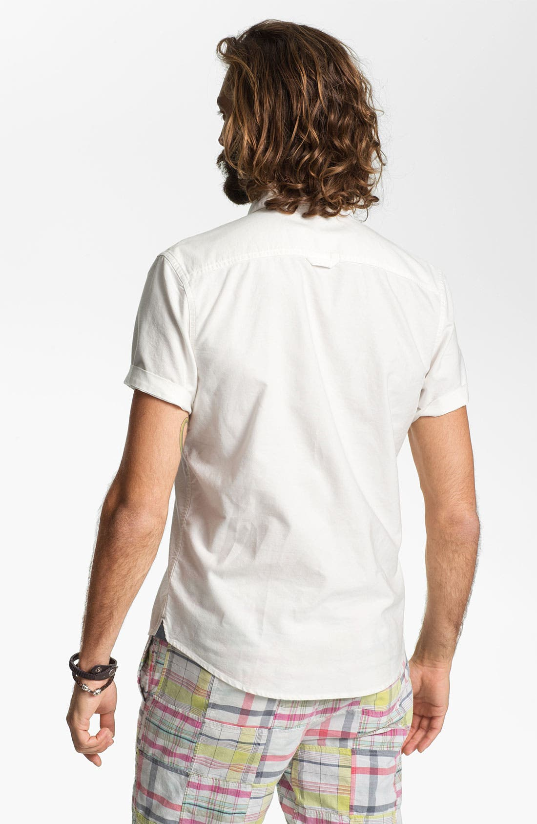 Alternate Image 2  - 1901 Trim Fit Short Sleeve Oxford Sport Shirt