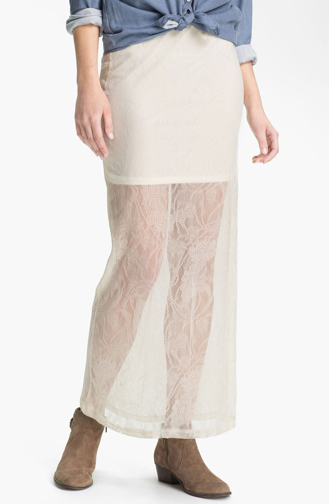 Alternate Image 1 Selected - h.i.p. Half Sheer Lace Maxi Skirt (Juniors)