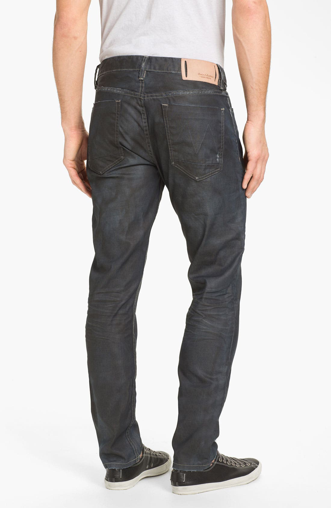 Main Image - Denim & Leathers by Andrew Marc Corroded Slim Straight Leg Jeans (Indigo)