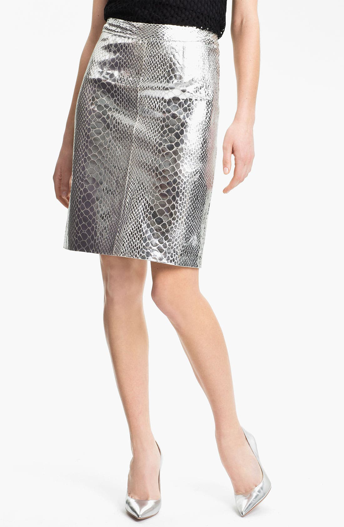 Main Image - Milly Metallic Leather Skirt