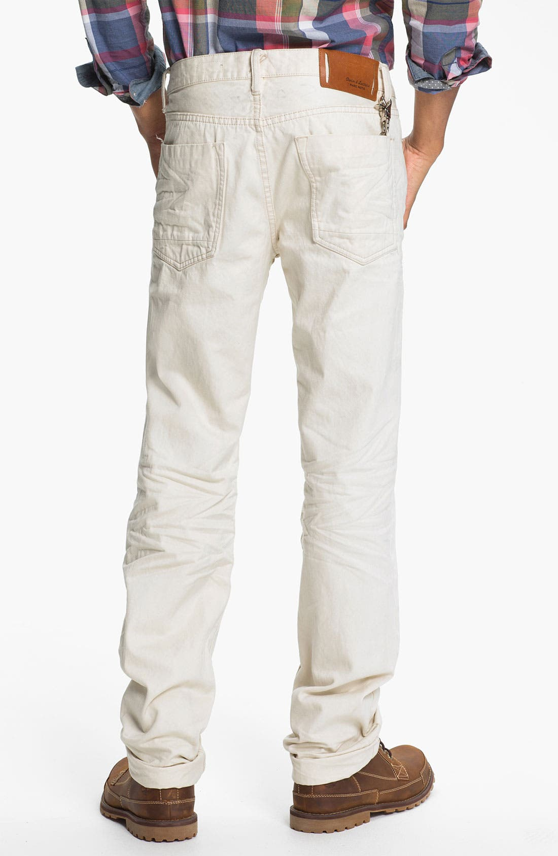 Alternate Image 1 Selected - Denim & Leathers by Andrew Marc Straight Leg Jeans (White)